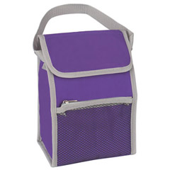 promotional custom imprinted 210 denier polyester PEVA lined insulated zippered long handled cooler lunch bag