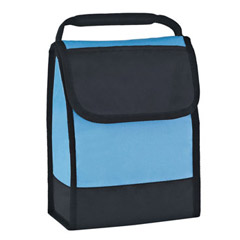promotional custom imprinted 210 denier polyester PEVA lined velcro closure identification insulated lunch bag