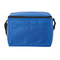 Promotional Custom Imprinted Vinyl 210D Poly Insulated 6 Pack Can Zippered Lunch Cooler Bag Front Pocket